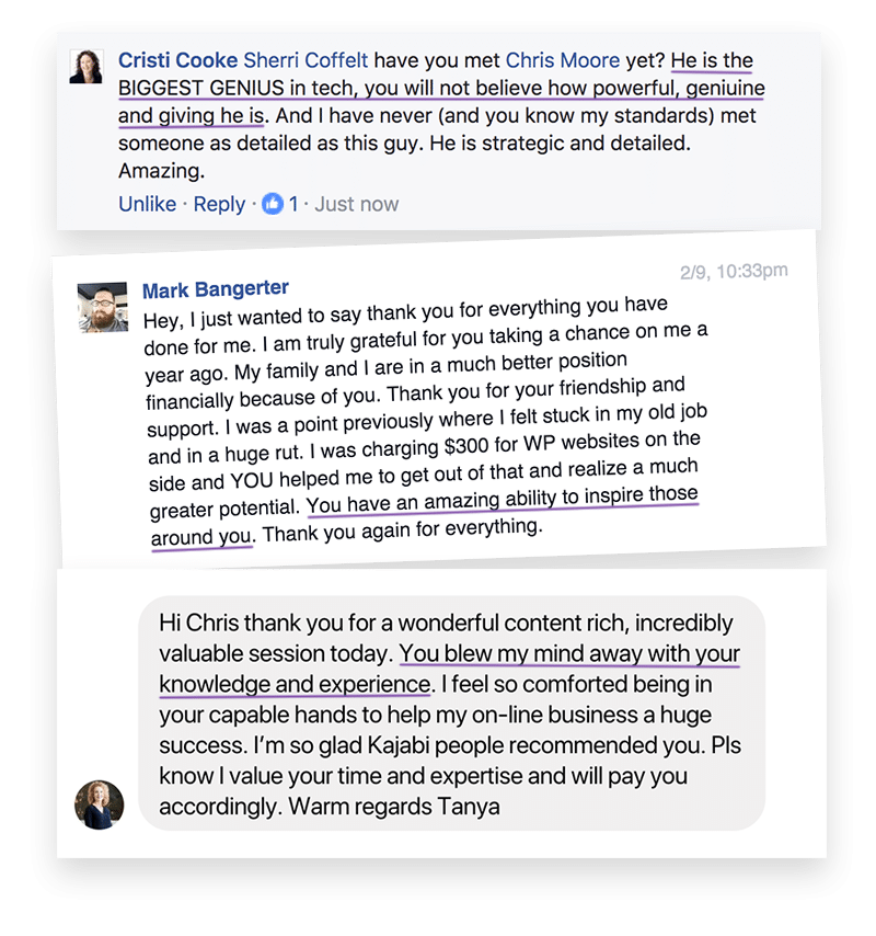 Screenshot of testimonials from Facebook
