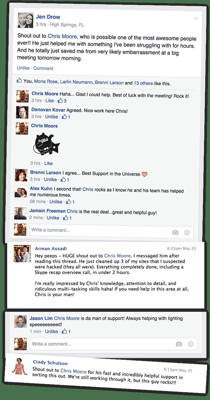 Screenshot of testimonials from Facebook